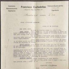 Cartas comerciales: CARTA COMERCIAL. FRANCÍSCO CORTADELLAS. FÁBRICA DE GUANTES DE PIEL. BARCELONA. ESPAÑA 1927. Lote 222232791