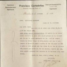 Cartas comerciales: CARTA COMERCIAL. FRANCISCO CORTADELLAS. COMISIONES-IMPORTACIÓN. BARCELONA. ESPAÑA 1927. Lote 222233003