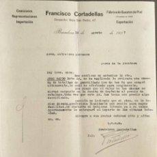 Cartas comerciales: CARTA COMERCIAL. FRANCÍSCO CORTADELLAS. FÁBRICA DE GUANTES DE PIEL. BARCELONA. ESPAÑA 1927. Lote 222233168