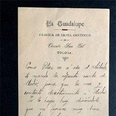 Cartas comerciales: LA GUADALUPE / FABRICA DE PAPEL CONTINUO / VICENTE SAN GIL / TOLOSA / AÑO 1918 / GUIPUZCOA. Lote 222254390