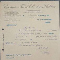 Cartas comerciales: CARTA COMERCIAL. COMPAÑÍA FABRIL DE CARBONES ELÉCTRICOS S.A. BARCELONA. ESPAÑA 1920. Lote 222258236