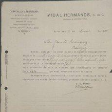 Cartas comerciales: CARTA COMERCIAL. VIDAL HERMANOS S. EN C. QUINCALLA Y BISUTERÍA. BARCELONA. ESPAÑA 1920. Lote 222258687