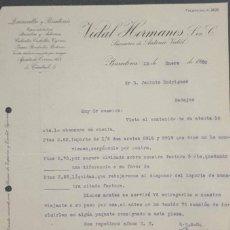 Cartas comerciales: CARTA COMERCIAL. VIDAL HERMANOS S. EN C. QUINCALLA Y BISUTERÍA. BARCELONA. ESPAÑA 1920. Lote 222258847