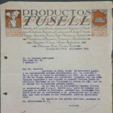 Cartas comerciales: CARTA COMERCIAL. PRODUCTOS TUSELL S.A. BARCELONA. ESPAÑA 1920. Lote 222259378