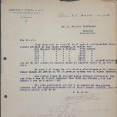 Cartas comerciales: CARTA COMERCIAL. OLIVER Y RIERA S. EN C. FÁBRICA DE JUGUETES DE MADERA. DENIA. ESPAÑA 1918. Lote 222260453