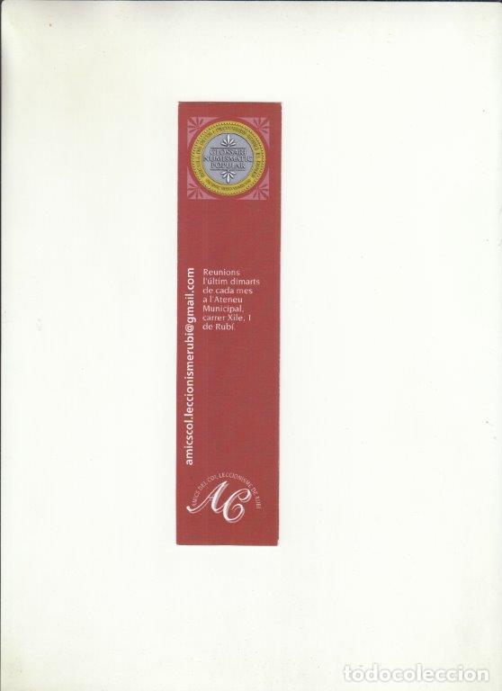 MARCAPÁGINAS. AMICS DEL COL-LECCIONISME DE RUBÍ. (Coleccionismo - Documentos - Cartas Comerciales)
