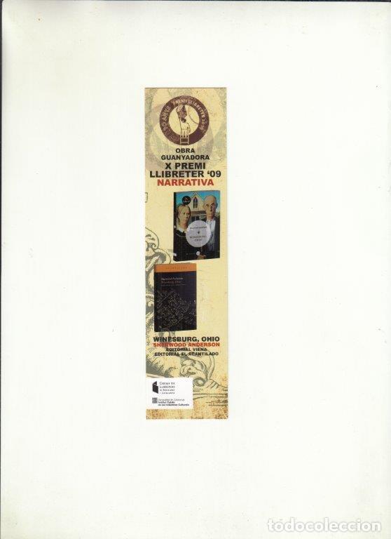 MARCAPÁGINAS. OBRA GUANYADORA X PREMI LLIBRETER 2009 NARRATIVA. GREMI DE LLIBRETERS BCN. (Coleccionismo - Documentos - Cartas Comerciales)