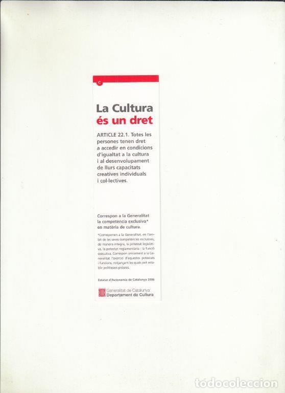 Cartas comerciales: MARCAPÁGIAS. LA CULTURA ÉS UN DRENT. GENERALITAT DE CATALUNYA. - Foto 2 - 222537378