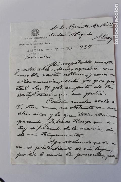 Cartas comerciales: OFICINA LIQUIDADORA JIJONA, 1937, 2 DOCUMENTOS - Foto 4 - 222580770