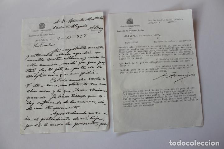 Cartas comerciales: OFICINA LIQUIDADORA JIJONA, 1937, 2 DOCUMENTOS - Foto 5 - 222580770