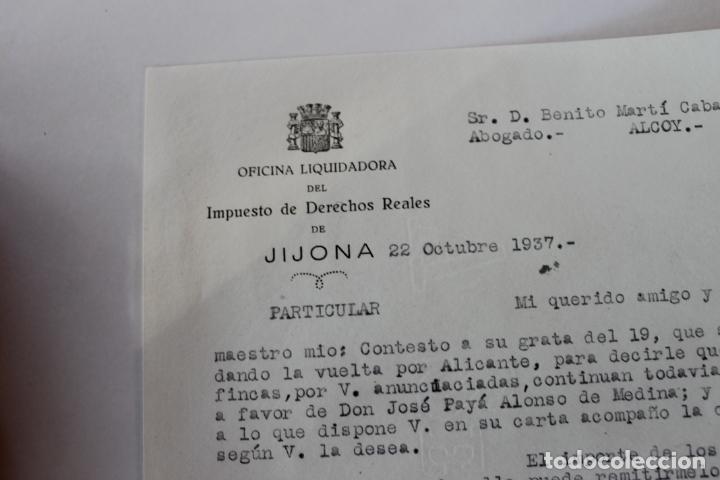 OFICINA LIQUIDADORA JIJONA, 1937, 2 DOCUMENTOS (Coleccionismo - Documentos - Cartas Comerciales)