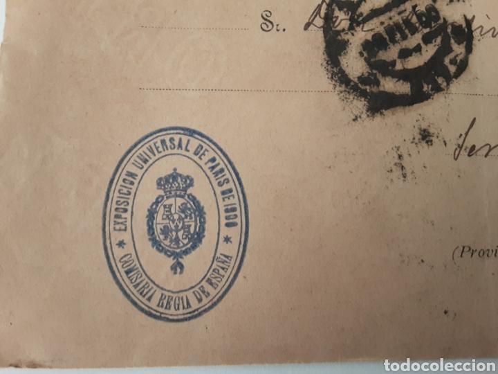 Cartas comerciales: carta sobre sello exposición universal de paris 1900 comisaría regia de España - Foto 2 - 222605288
