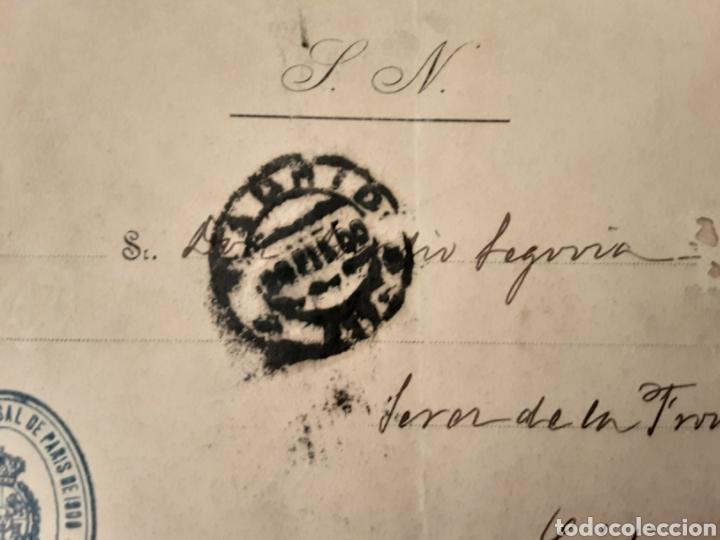 Cartas comerciales: carta sobre sello exposición universal de paris 1900 comisaría regia de España - Foto 3 - 222605288