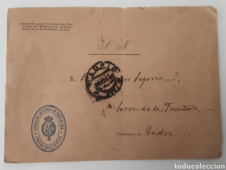 CARTA SOBRE SELLO EXPOSICIÓN UNIVERSAL DE PARIS 1900 COMISARÍA REGIA DE ESPAÑA (Coleccionismo - Documentos - Cartas Comerciales)