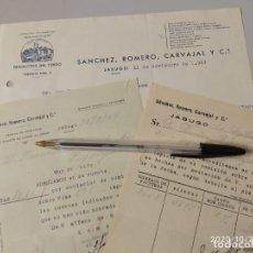 Cartas comerciales: SANCHEZ ROMERO CARVAJAL PRODUCTOS DEL CERDO JABUGO HUELVA 1947.. Lote 222612662