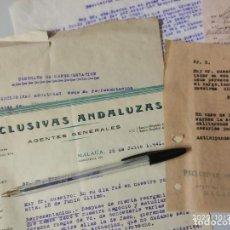 Cartas comerciales: EXCLUSIVAS ANDALUZAS MALAGA CONTRATO CARTA Y NOTAS 1941.. Lote 222612765