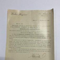 Cartas comerciales: CIRCULAR. WALTER WAGENER. MADRID, 1935. VER FOTOS. Lote 222642391