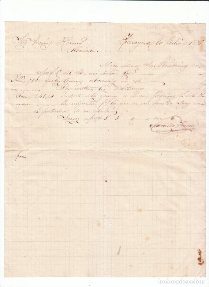 MUY ANTIGUA CARTA COMERCIAL. DE COMERCIO ULTRAMARINOS ZARAGOZA A CLIENTE DE ALBALATE, TERUEL. 1876 (Coleccionismo - Documentos - Cartas Comerciales)