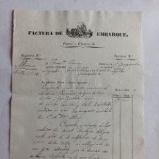 Cartas comerciales: FACTURA DE EMBARQUE, NOYA 1842. LA CORUÑA, GALICIA.. Lote 223088147