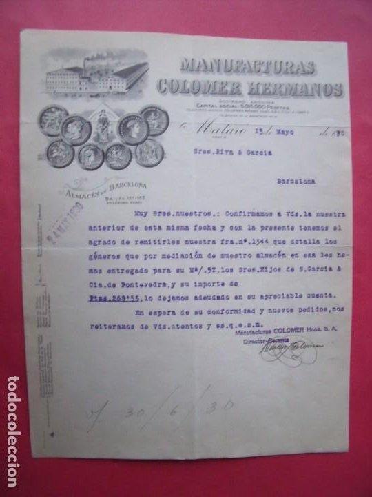 MANUFACTURAS COLOMER HERMANOS.-SEÑORES RIVA Y GARCIA.-MATARO.-BARCELONA.-AÑO 1930. (Coleccionismo - Documentos - Cartas Comerciales)