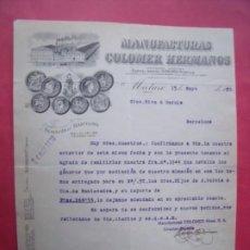 Cartas comerciales: MANUFACTURAS COLOMER HERMANOS.-SEÑORES RIVA Y GARCIA.-MATARO.-BARCELONA.-AÑO 1930.. Lote 223396507