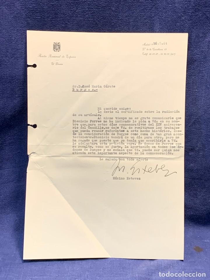 CARTA DIRECTOR RADIO NACIONAL ESPAÑA ESTEVEZ FIRMA AUTOGRAFA 1961 (Coleccionismo - Documentos - Cartas Comerciales)