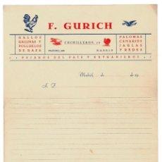 Cartas comerciales: CARTA COMERCIAL. F. GURICH. GALLOS, GALLINAS Y POLLUELOS DE RAZA. PALOMAS, CANARIAS.. Lote 223913671