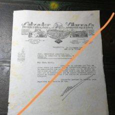 Cartas comerciales: ANTIGUA CARTA COMERCIAL. SALVADOR VILARRASA. FABRICACIÓN DE TABLEROS Y CHAPAS. VALENCIA AÑO 1939.. Lote 225321340