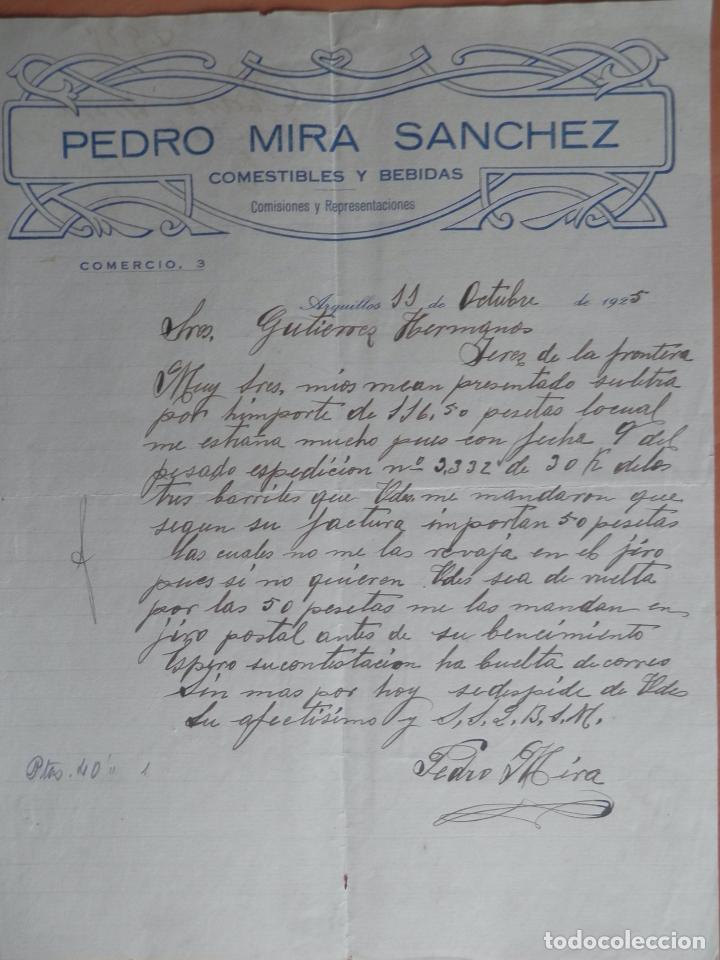 ARQUILLOS JAÉN CARTA COMERCIAL AÑO 1925 COMESTIBLES Y BEBIDAS PEDRO MIRA SANCHEZ (Coleccionismo - Documentos - Cartas Comerciales)