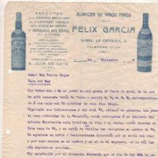 Cartas comerciales: FACTURA. FELIX GARCIA. ALMACEN DE VINOS FINOS. JOSE SOTO. JEREZ CADIZ. HARO. Y SANTANDER.. Lote 227126520