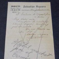Cartas comerciales: FABRICACIÓN DE TEJIDOS SEBASTIÁN NOGUERA. Lote 228579405