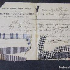 Cartas comerciales: TIENDA DE TEJIDOS MIGUEL TÓMAS SASTRE. Lote 228606760