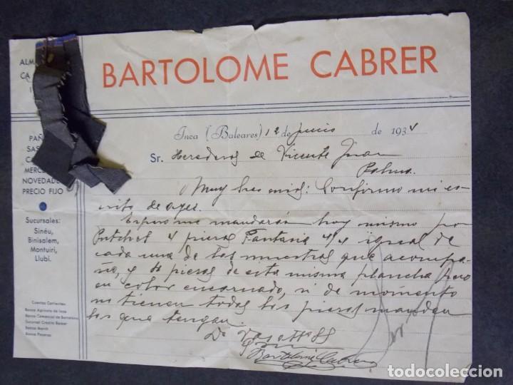 BARTOLOME CABRER (Coleccionismo - Documentos - Cartas Comerciales)