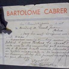 Cartas comerciales: BARTOLOME CABRER. Lote 228609190