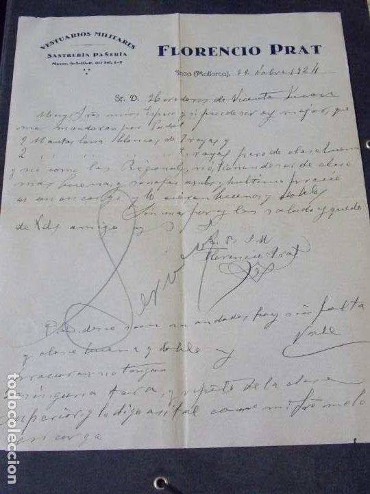 VESTUARIOS MILITARES FLORENCIO PRAT (Coleccionismo - Documentos - Cartas Comerciales)