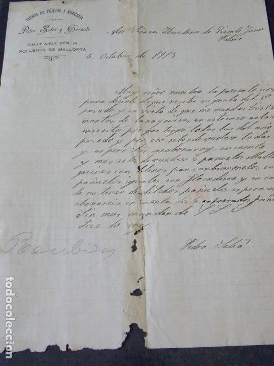 MALLORCA - TIENDA DE TEJIDOS Y MERCERIA PEDRO SALIA Y GORNALS (Coleccionismo - Documentos - Cartas Comerciales)