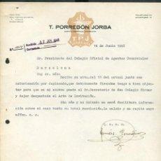 Cartas comerciales: IGUALADA. *T. PORREDÓN JORBA - AGENTE COMERCIAL COLEGIADO* AÑO 1948.. Lote 10715595