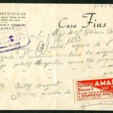 Cartas comerciales: MANRESA. *CASA FIUS. FLORES ARTIFICIALES* AÑO 1948. ETIQUETA Y TAMPÓN DE RECADERO.. Lote 10719953
