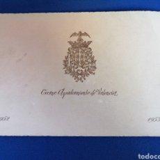 Cartas comerciales: FELICITACIÓN AYUNTAMIENTO DE VALENCIA 1952-INCLUYE POSICIÓN ANTIGUO CONVENTO SAN FRANCISCO. Lote 229367620
