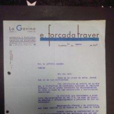 Cartas comerciales: CARTA COMERCIAL. E.FORCADA TRAVER. CASTELLÓN. 1942.. Lote 230878310