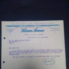 Cartas comerciales: CARTA COMERCIAL. VICENTE SERRANO. CALAMOCHA. TERUEL. 1942.. Lote 230879290