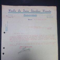 Cartas comerciales: CARTA COMERCIAL. VDA. DE JUAN SÁNCHEZ VICENTE. ALICANTE. 1941.. Lote 230880720