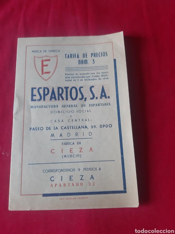 ANTIGUA TARIFA DE PRECIOS ESPARTOS,SA CIEZA MURCIA 1948 (Coleccionismo - Documentos - Cartas Comerciales)