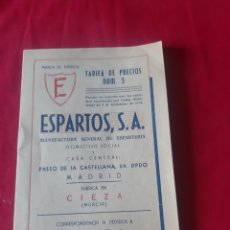 Cartas comerciais: ANTIGUA TARIFA DE PRECIOS ESPARTOS,SA CIEZA MURCIA 1948. Lote 231857895
