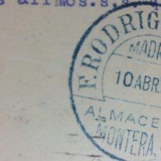Cartas comerciales: MADRID TARJETA COMERCIAL ALMACENES RODRÍGUEZ C/ MONTERA 35 AÑO 1933. Lote 232527920