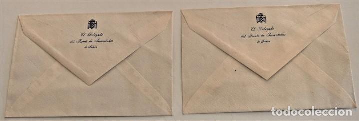DOS SOBRES Y DOS HOJAS DE CARTA DE EL DELEGADO DEL FRENTE DE JUVENTUDES DE JÁTIVA (VALENCIA) (Coleccionismo - Documentos - Cartas Comerciales)