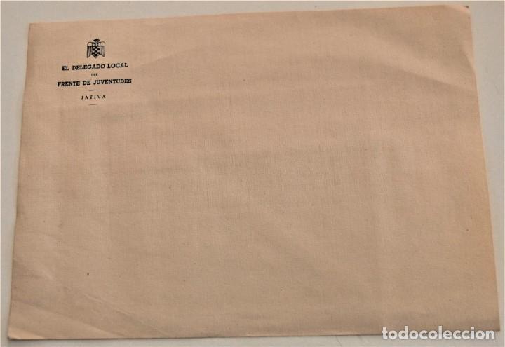 Cartas comerciales: DOS SOBRES Y DOS HOJAS DE CARTA DE EL DELEGADO DEL FRENTE DE JUVENTUDES DE JÁTIVA (VALENCIA) - Foto 5 - 234112495