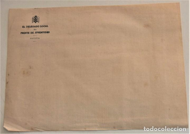 Cartas comerciales: DOS SOBRES Y DOS HOJAS DE CARTA DE EL DELEGADO DEL FRENTE DE JUVENTUDES DE JÁTIVA (VALENCIA) - Foto 6 - 234112495