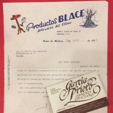 Cartas comerciales: CARTA COMERCIAL, PRODUCTOS BLACE ARTESANIA DEL OLIVO PALMA DE MMALORCA 1958. Lote 234731905