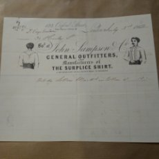 Cartas comerciales: JOHN SAMPSON GENERAL OUTFITTERS MANUFACTURES OF SURPLICE SHORT. MODA CAMISAS.. Lote 234802395
